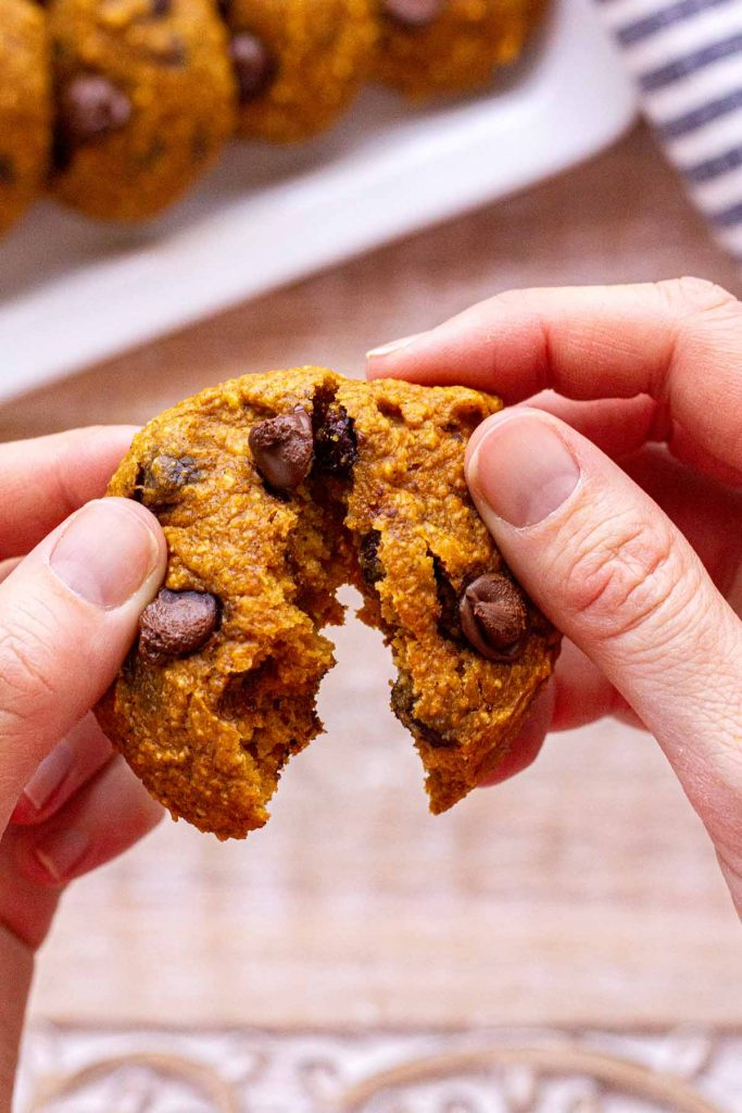 Pumpkin Chocolate Chip Cookie being pulled apart by woman's hands.